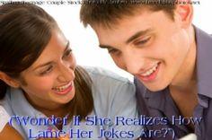Smiling Teenage Couple, Man Wonders About Girlfriend's Joke