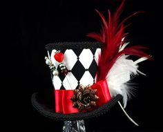 Queen of Hearts – Black, White, and Red Harlequin Empress Collection Mini Top Hat , Alice in Wonderland, Mad Hatter Tea Party Alice In Wonderland Hat, Wonderland Party, Mad Hatter Hats, Mad Hatter Tea, Mad Hatters, Steampunk Hat, Steampunk Costume, Queen Of Hearts Costume, Red Queen