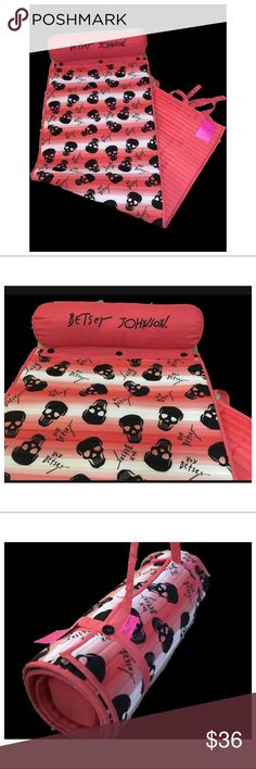 """Coral beach tote Betsey Johnson skull Peach Coral pink/orange and white black skeleton skull pattern Betsey Johnson roll up beach mat with carrying handle. Travel tote beach yoga ombré stripe pattern 24x66"""" xox Betsey Betsey Johnson Swim"""