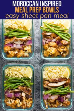 These Moroccan inspired meal prep bowls are full of warm spices and deep flavor. With spiced chicken thighs, roasted cauliflower and green beans served over lemony pearl couscous, it's an easy meal to prep on the weekend. Meal Prep Bowls, Lunch Meal Prep, Healthy Meal Prep, Healthy Eating, Fitness Meal Prep, Dinner Healthy, Moroccan Couscous, Couscous How To Cook, Lunch Recipes