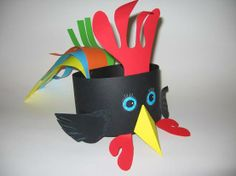 Paper chicken craft for kids New Year's Crafts, Easter Crafts, Arts And Crafts, Crazy Hat Day, Crazy Hats, Toddler Crafts, Preschool Crafts, Carnaval Costume, Diy For Kids