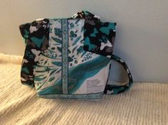 Recycled Starbuck Coffee Bag Purse-Blue Butterfly by QuiltingMyWay on Etsy