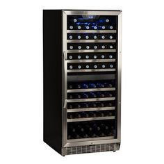 EdgeStar 110 Bottle BuiltIn Dual Zone Wine Cooler  Stainless Steel and Black -- Want additional info? Click on the image.