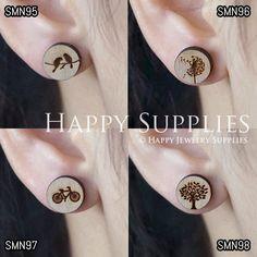 4pcs Mini SMN95-98 DIY Laser Cut Wooden Earring Charms  SWC