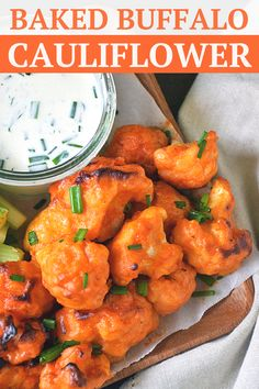 Baked Buffalo Cauliflower Bites | by Life Tastes Good with a dairy-free ranch dipping sauce are loaded with all the flavors of one of our favorite Monday Night Football appetizers, but in a better-for-you option. These spicy bites are meatless and dairy free too! Perfect for holiday parties, game day, or just a fun snack! #LTGrecipes #cauliflowerrecipe #buffalocauliflowerbites #easyrecipe #healthyrecipe #footballappetizer #gamedayrecipe