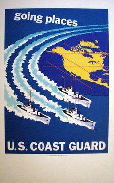 c42755f489d 1952 Original US Art Deco Coast Guard Recruitment Poster  Going Places –  Vintage Poster Works