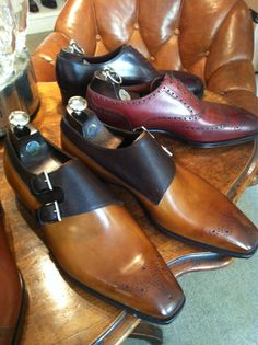 Gaziano  Girling Shoes for Bespoke-England Oakham in Vintage Pine Calf  Dark Brown Pin Grain on the TG73 Last.