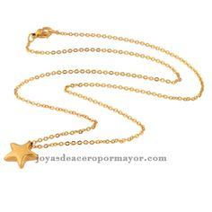 Collar dorado con dijes en forma de estrella, venta al por mayor