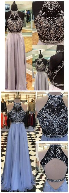 New Arrival Prom Dress,2018 Light Blue With Beading Prom Dresses Long Sexy backless Sparkle Prom Gown H0044 #promdress #promdresses #promgown #promgowns #long #prom #modestpromdress #newpromdress #2018fashions #newstyles #blue #chiffon