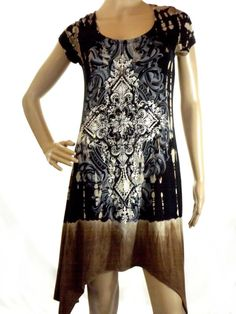 Vocal Fleur De Lis  Black, Brown & Gray Tunic Dress Top Crystal Studs Size L…