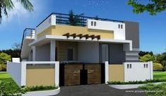 elevations of independent houses Village House Design, House Front Design, Village Houses, Modern House Design, Front Elevation Designs, House Elevation, Building Elevation, Innovative Architecture, Modern Architecture