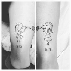Black And White Sister Tattoo On Legs