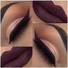fall makeup @glambylupe: nude eye, berry / wine colored winged liner + matching lips (both: liquid lipstick)