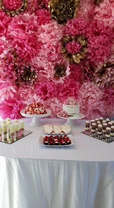 Pink Bridal Party || DIY Flower backdrop || Dessert Table