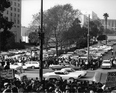 Black Panther Party protest, Los Angeles Police Department building in downtown Los Angeles, circa 1960s. Guy Crowder Collection. Institute for Arts and Media Photographs.