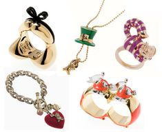 Assorted Alice in Wonderland jewelry.  I especially like the Alice hair ring!