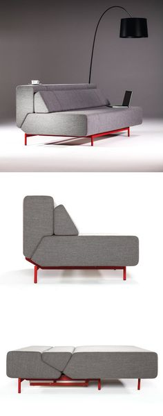 PIL-LOW sofa-bed by Prostoria by Kvadra. Clever sofa to sofabed mechanism. Solid looking sofa but good geometric lines. Smart Furniture, Sofa Furniture, Modern Furniture, Furniture Design, Sofa Bed Modern, Modern Sectional, Sectional Sofas, Classic Furniture, Custom Furniture