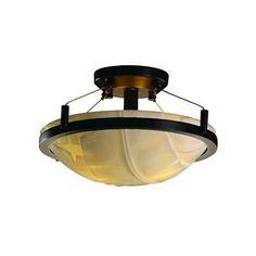 """Justice Design Porcelina Ring 14"""" Semi-Flush Rnd 16"""" Dk Brz Banana Leaf LED"""