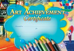 Art Achievement Certificate - Pack of 200 - Australian Teaching Aids - Reward students studying Art and Drawing. Classroom Art Projects, Art Classroom, Classroom Organization, Classroom Management, Art Certificate, Award Certificates, Teaching Aids, Teaching Resources, School Lessons