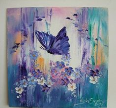 Mariposa Flores Pintura al óleo originales consecuencia esta placa Púrpura Azul Artista De Europa | eBay!