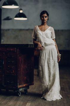 "Robe de mariée Débardeur ""Bertin"", jupe ""Mirabeau"" et top ""Vigo"", Laure de Sagazan"