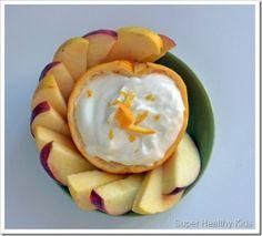Orange Fruit Bowl Dip - Plain Yogurt, Honey, Orange Zest and a squeeze of orange juice!