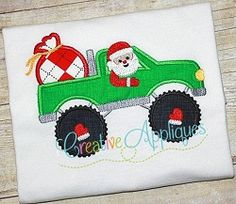 Santa Driving Truck Applique - 4 Sizes! | What's New | Machine Embroidery Designs | SWAKembroidery.com Creative Appliques
