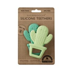 Sized just right for tiny hands, our safe and durable Happy Cactus Silicone Teethers help soothe baby and provide tactile stimulation. Each teether has a variety of textures that make it fun for baby to explore and can be refrigerated or frozen to further soothe sore and aching gums. The uniquely designed set of two makes for a great new parent gift.