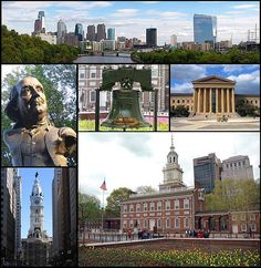 Philadelphia  From top left, the Philadelphia skyline, a statue of Benjamin Franklin, the Liberty Bell, the Philadelphia Museum of Art, Philadelphia City Hall, and Independence Hall