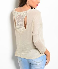 Look what I found on #zulily! Beige Crochet-Back Scoop Neck Top by Buy in America #zulilyfinds