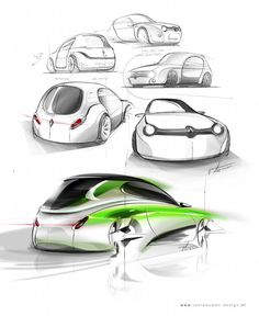 Design sketches for a Renault 4 remake. Design by Marco van Leeuwen (www.vanleeuwen-design.nl)