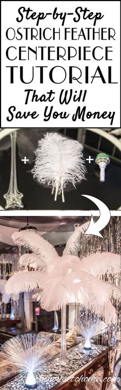 DIY: How To Make Spectacular Ostrich Feather Centerpieces | I have used different variations of these DIY ostrich feather centerpieces instead of floral arrangements at all kinds of wedding receptions and parties...a Great Gatsby party, Winter Wonderland party, 50th birthday party, Mardi Gras party, Valentine's Day party...you get the idea :). They are simple to put together and you will save a lot of money making them yourself! Click through to get the step by step instructions.