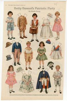 Betty Bonnet's Patriotic Party paper doll ... | Vintage Paper Dolls…