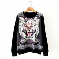 $7.39 Tiger Print Chiffon Stitching Loose-Fitting Cotton Color Matching Sweatershirt For Women
