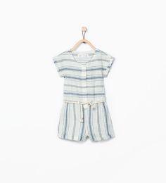 ZARA - KIDS - Striped jumpsuit with cord belt detail.