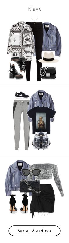 """blues"" by katgorostiza ❤ liked on Polyvore featuring Acne Studios, Gucci, Versus, rag & bone, MICHAEL Michael Kors, Lot78, NIKE, Marques'Almeida, Boohoo and Chanel"
