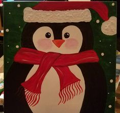 Acrylic painting on canvas, Christmas penguin with scarf and hat.