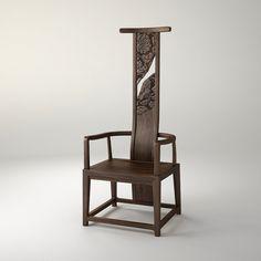 花间高靠椅 传统工艺云纹花团浅浮雕。 规格:W560×D540×H1400 材质:卡斯楠 颜色:深胡桃色亚光开孔漆 设计师:康佳为