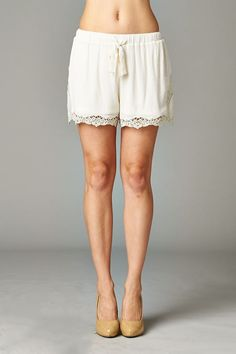 Lightweight drawstring shorts with crochet trim (MP5422). Perfect for dressing up with a blouse or for going casual with a tee. Imported from China. Come check out more of our shorts from our current collection. Young contemporary everyday wear. Stylish and comfortable. www.cherishusa.com www.fashiongo.net/Cherish