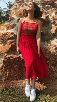 Beautiful Yami Gautham in red color maxi dress dress. She wore white color canvas shoes. Frock Fashion, Indian Fashion Dresses, Dress Indian Style, Indian Designer Outfits, Designer Dresses, Party Wear Dresses, Dress Outfits, Frock For Teens, Western Dresses For Girl