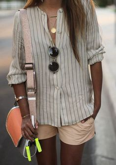 A little summery, but I like the pale pink shorts mixed with the striped button-up.