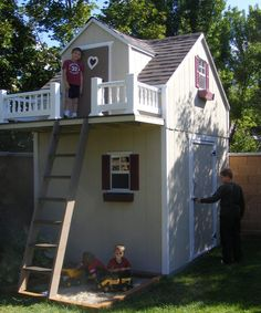 Shed Under Playhouse wanna do something like this for the girls