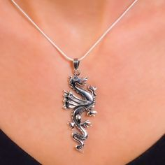 Sterling silver pendant. Chinese flying dragon.