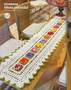 Free Crochet Table Runner Pattern - Colorful Flowers