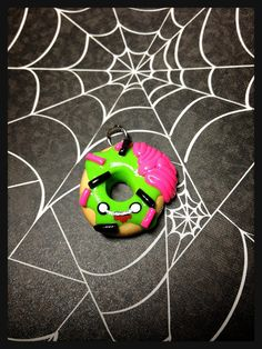 Zombie Doughnut Polymer Clay Charm by KillerJewelsBoutique on Etsy, $7.00