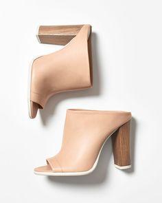 Vince Allison Leather Peep-Toe Mule