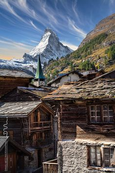 The Old Zermatt Village - Zermatt has become now a city with modern buildings. Difficult to value the ancient past chalets. These old wooden houses are called mazots And great challenge to photograph them with the famous Matterhorn