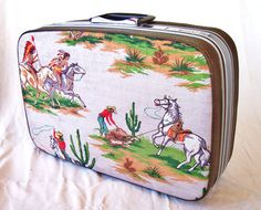vintage upcycled suitcase retro cowboy and indians by ThePinyonNut . inside and out in good clean shape.