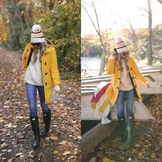 @blaireadiebee is absolutely owning perhaps the most classic fall outfit; a yellow mack and hunter boots! Try this style with jeans and knitwear to get that quintessential autumn feeling! Jeans: #currentelliott , Coat: #mylandsend , Boots: #hunteroriginal . #fashion, #fashionista, #fashionblogger, #streetstyle, #fashionicon, #instastyle, #instafashion