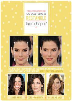 Hair Talk: Rectangle Face Shape via The Beauty Department Rectangle Face Shape, Oblong Face Shape, Face Shape Hairstyles, Down Hairstyles, Wedding Hairstyles, Square Face Hairstyles, Hairstyles For Rectangular Faces, Pelo Pixie, The Beauty Department